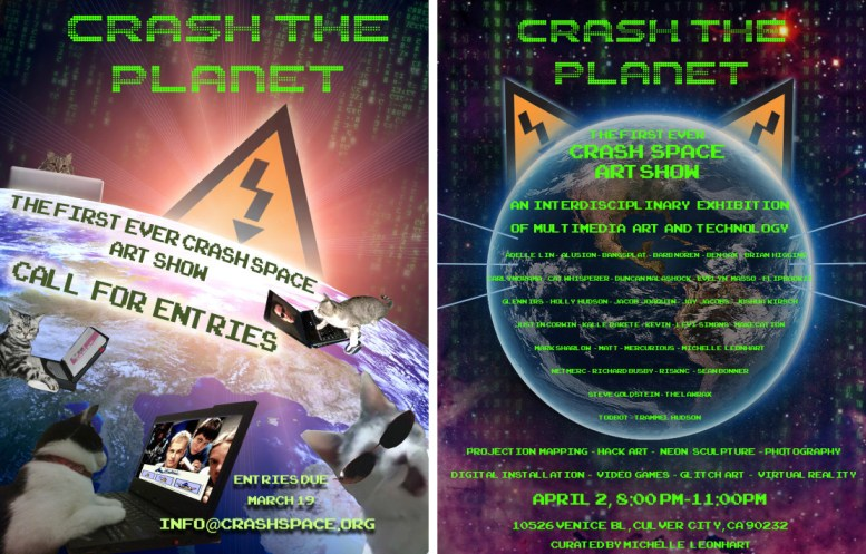 """posters for """"Crash the Planet"""", the first CRASH Space art show"""