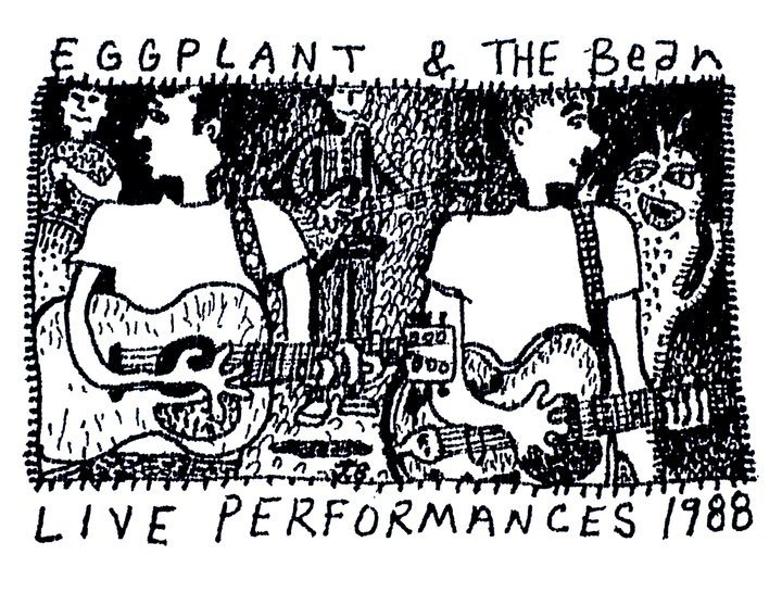 Line graphic of the band Eggplant