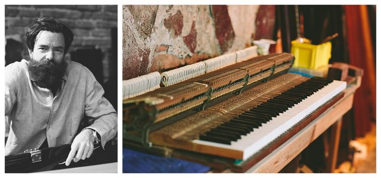 """Photo diptych: a portrait of Rick Feck and a """"portrait"""" of an upright piano"""