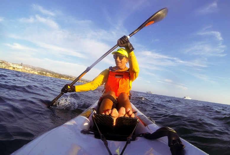 selfie of me paddling a Fenn XT Surf Ski. GoPro camera mounted on the deck of the surf ski and looking back toward the paddler