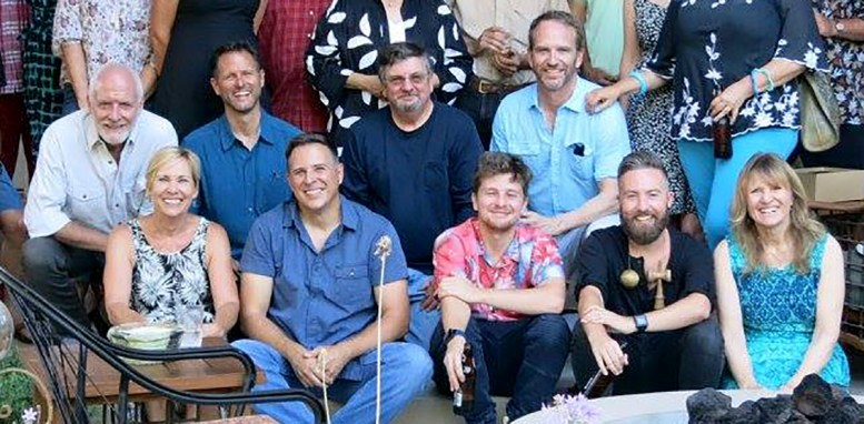 Group photo of Disneyland Entertainment Art Department reunion party by Chris Conte