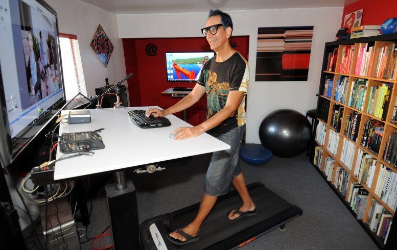 """Glenn Zucman working on a Treadmill Desk with a 42"""" drafting table, 46"""" monitor, and nVidia GeForce 770 graphics workstation"""