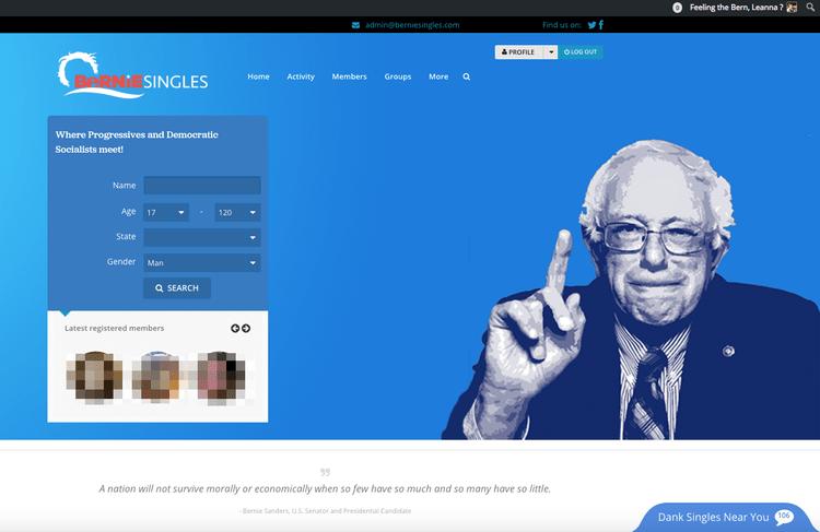 """screen capture of the website """"Bernie Singles.com"""""""