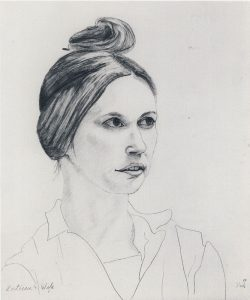 Pencil drawing of a woman, with fine detail on her face and head and quick flowing gestures for her shirt