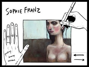 Screen Cap of Sophie Franz artist's website featuring her work and signature on the home page
