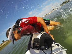 Glenn Zucman practicing surf ski remounting in the Newport Harbor