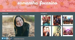 screen cap of Samantha Focarino's website