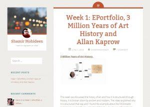 screen cap of Shamir Mohideen's website