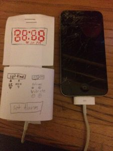 photo of an iPhone mocked up to be a super-alarm-clock
