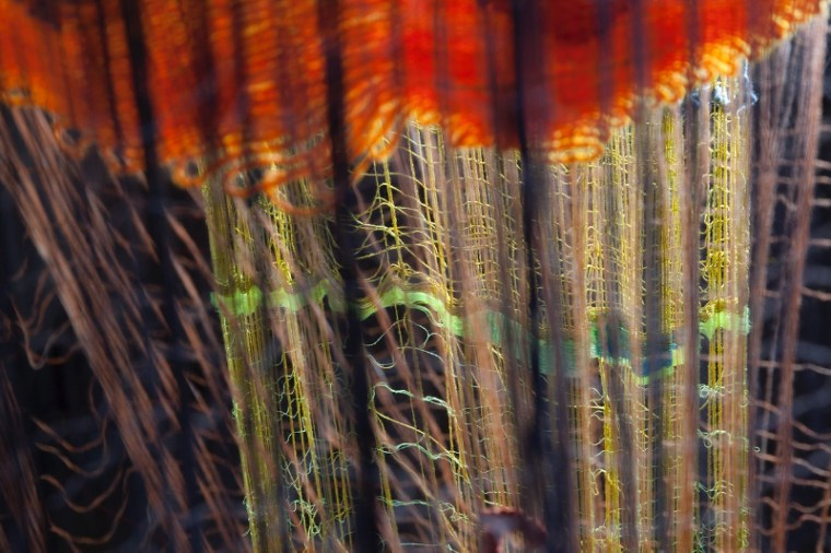 "photo of a woven artwork from Dawn Ertle's exhibition ""Radius of Action"""