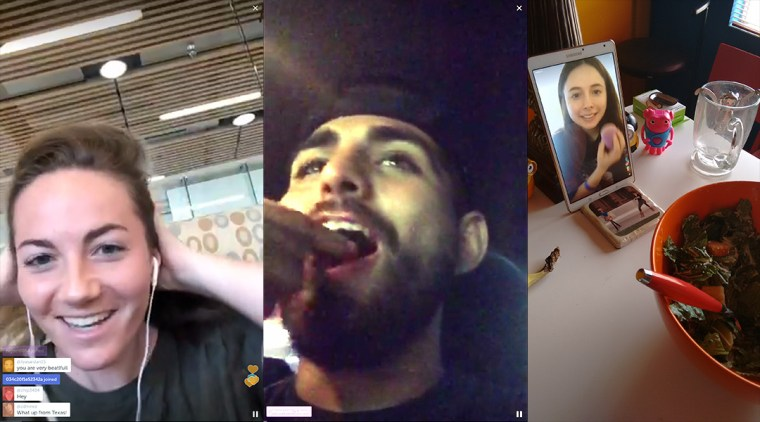 a triptych of screen captures from periscope broadcasts