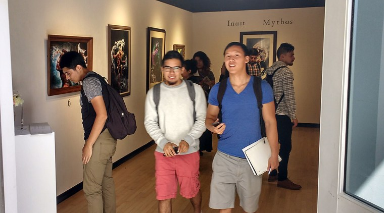 CSULB Art110 Students visiting the exhibitions at the School of Art, Art Gallery Complex