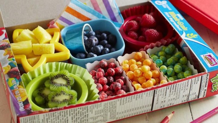 Trix cereal box used as a bento box
