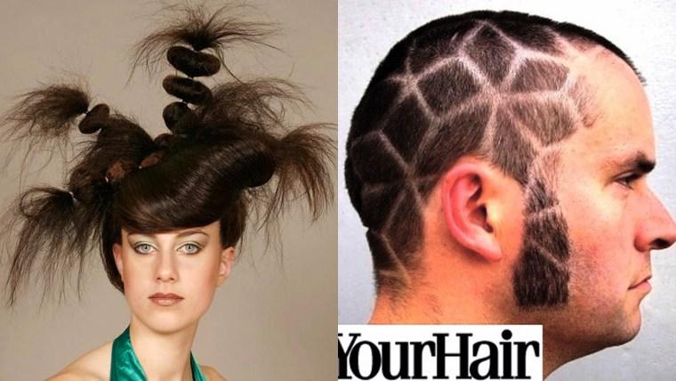 diptych of unusual hair styles