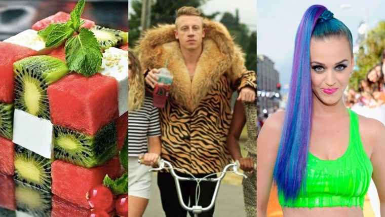 triptych of a food cube, Mackelmore in a fur coat, and Katy Perry with blue hair