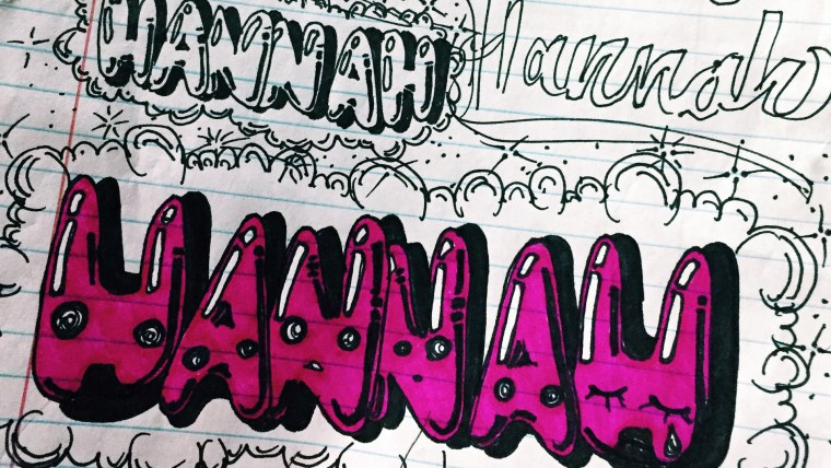 Hannah Mandias sketches for her graffiti writing activity