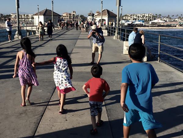 people walking on the Huntington Beach pier