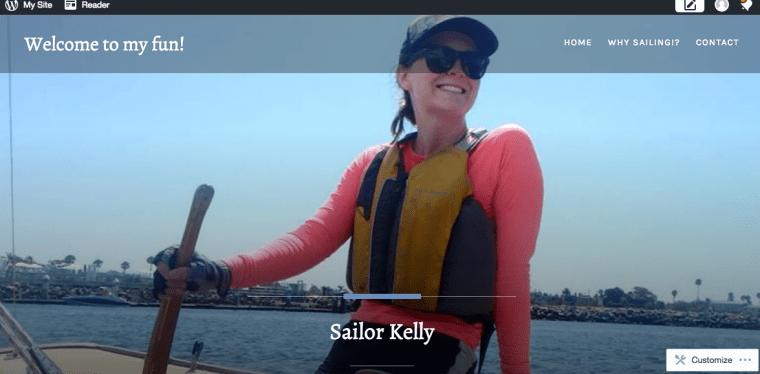 screen cap of Kelly Schwartz' sailing website