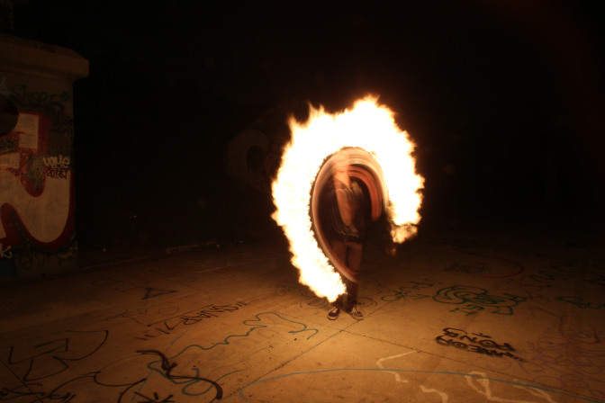 night photo of fire dancing