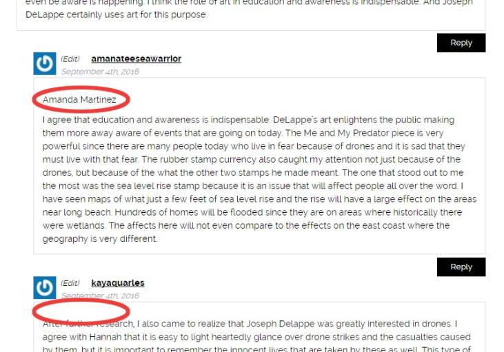 screen capture of a blog comment