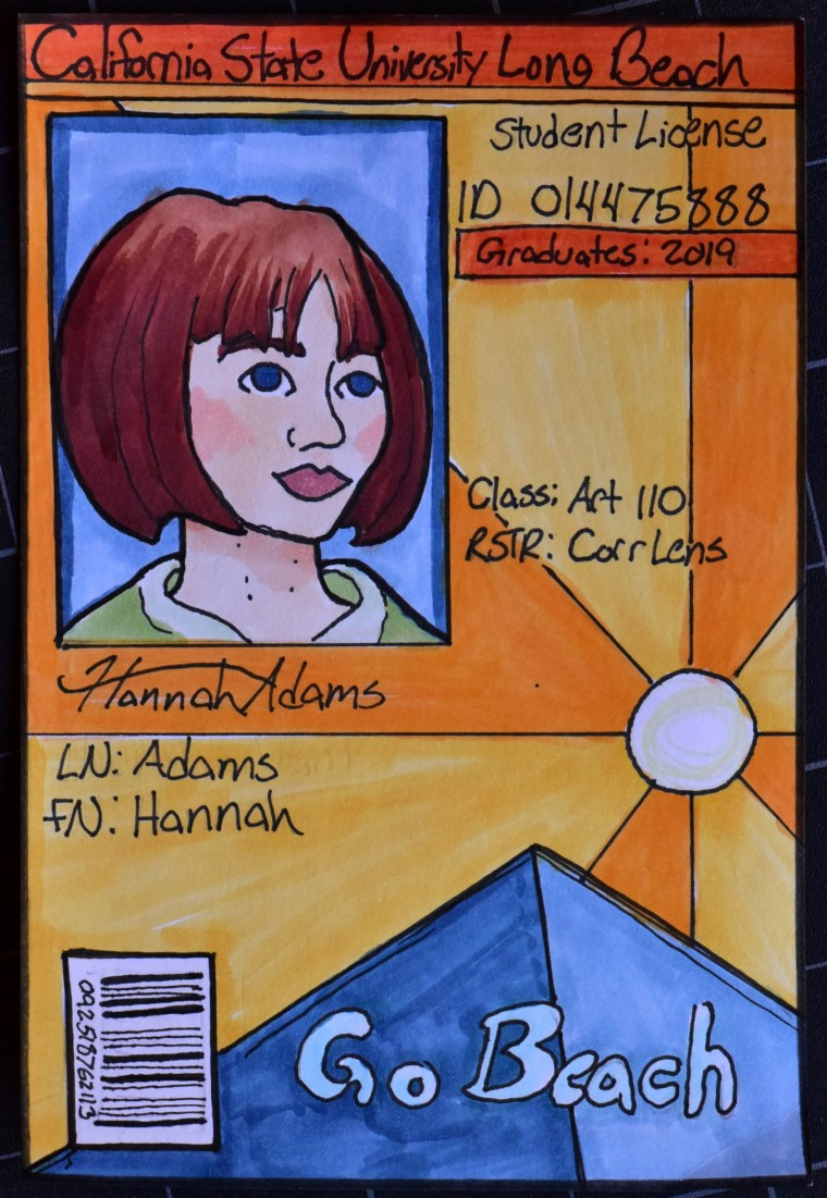 "Hannah Adams' CSULB ID card reimagined as a California Driver's License - vertically for ""under 21"" and rendered in colored markers"