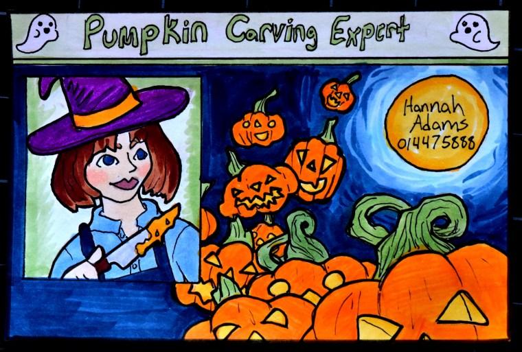 Marker illustration of a Halloween themed ID card by Hannah Adams