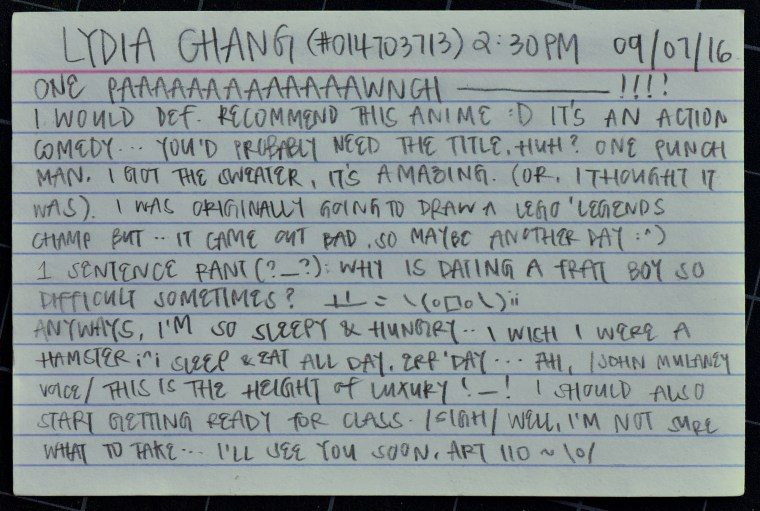 """Lydia Chang's 1-page zine """"ID card"""" featuring an illustration and text on a 4x6"""" index card"""