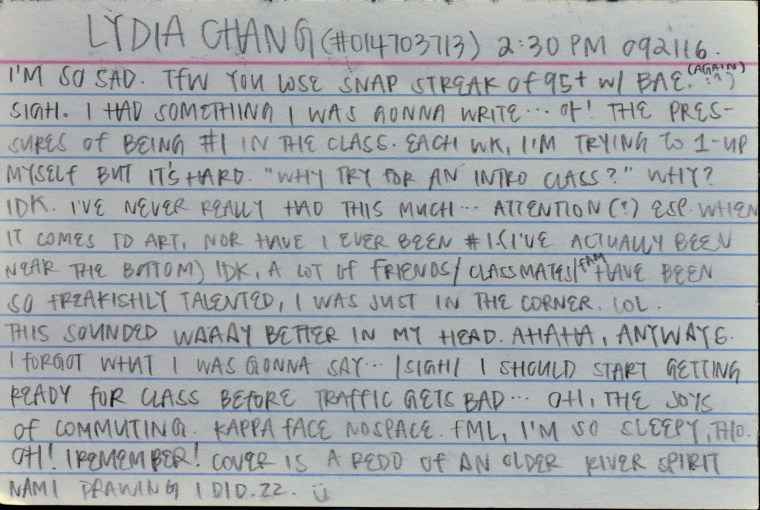 stream of consciousness essay on the back of an index card