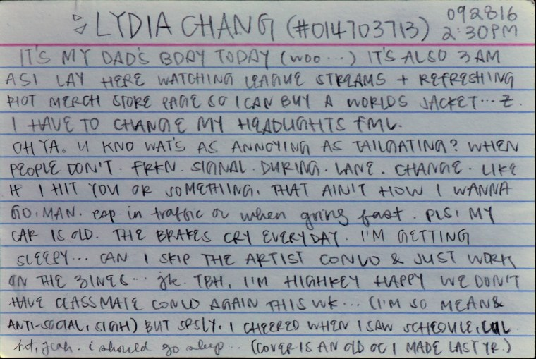 essay on the back of an index card