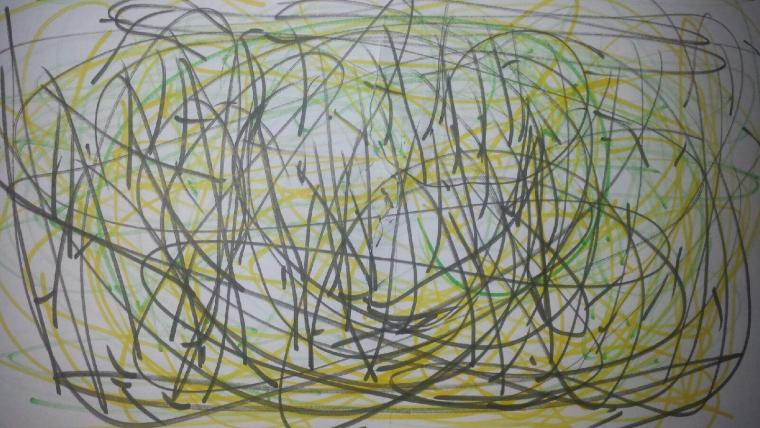 staccato lines in yellow, green, and black pastel on drawing paper
