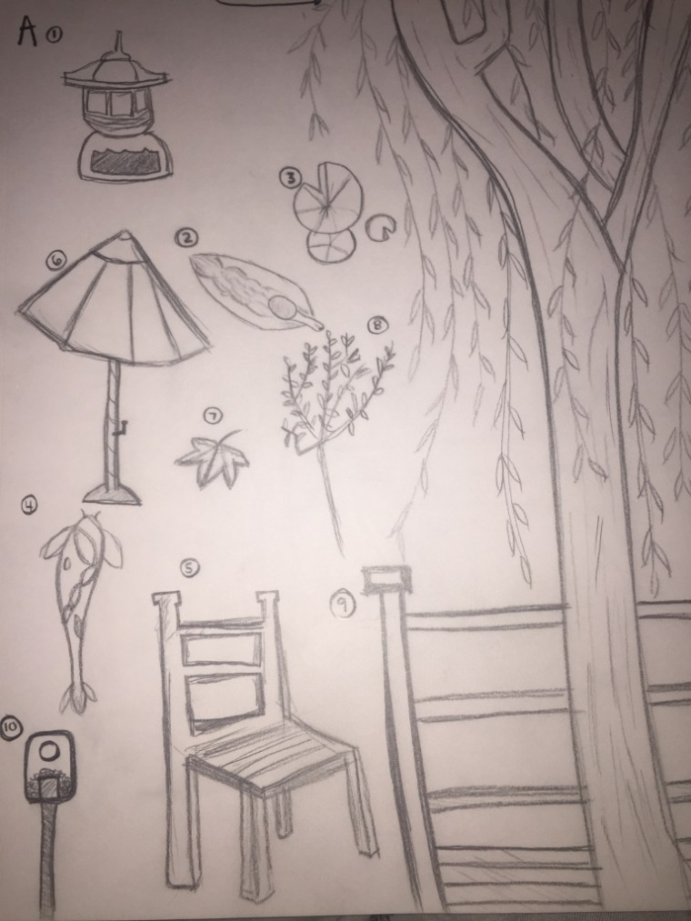 a page of small sketches of elements in the CSULB Japanese Garden by Emily Tomasello