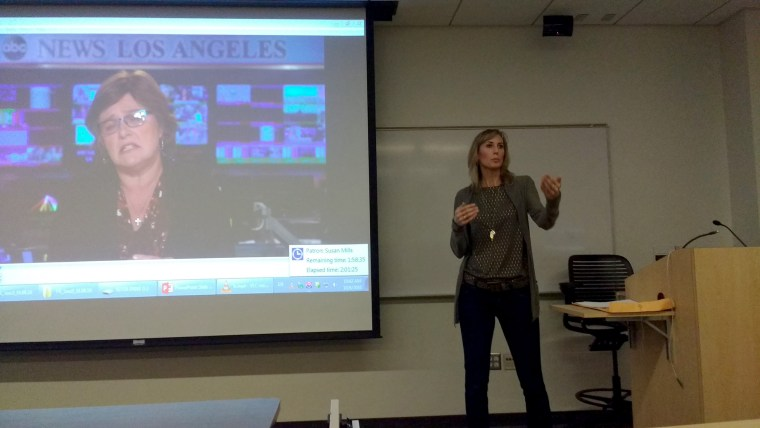 "ABC7 Eyewitness News general assignment reporter Leanne Suter speaking in CSULB room HSCI-105 to a group of faculty and students about television interviews and ""Telling your story in sound bites"""
