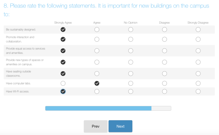 SurveyMonkey questionnaire asking what features buildings on the CSULB campus should have