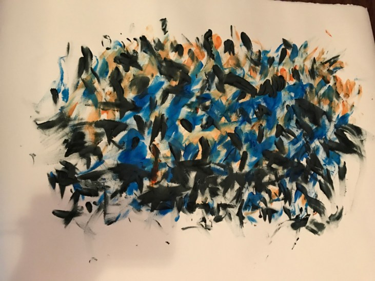 finger painting on Rives BFK paper. Short, staccato paint marks in blue, orange, and black