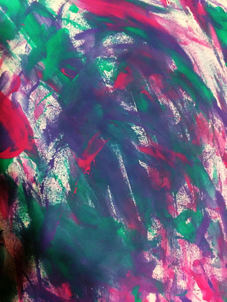 finger painting on paper by Pamela Ajoste featuring a dense forest canopy of bold marks in green, red, and purple