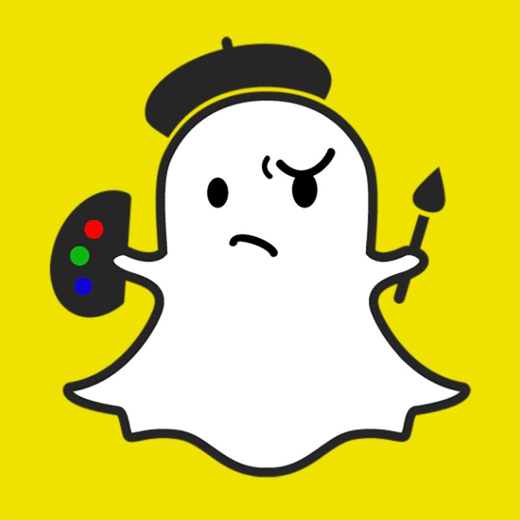 The familiar Snapchat ghost wearing an artist's beret and holding a paint brush and an artist's pallet