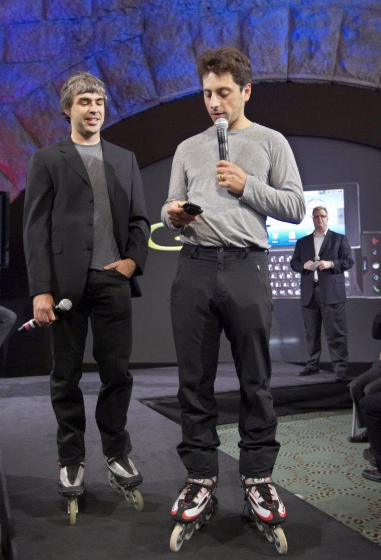 Larry Page & Sergey Brin on roller skates