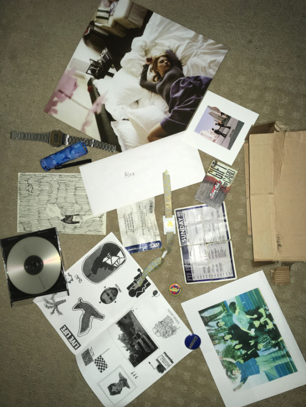 various pieces of ephemera spread out on a table