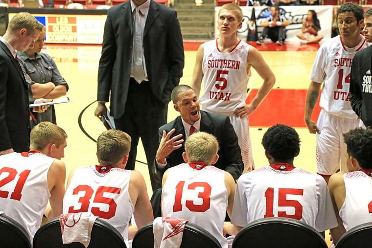 Southern Utah basketball huddle during a time out