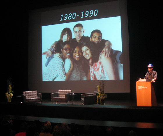 Hennessy Youngman speaking at the Museum of Contemporary Art, Chicago