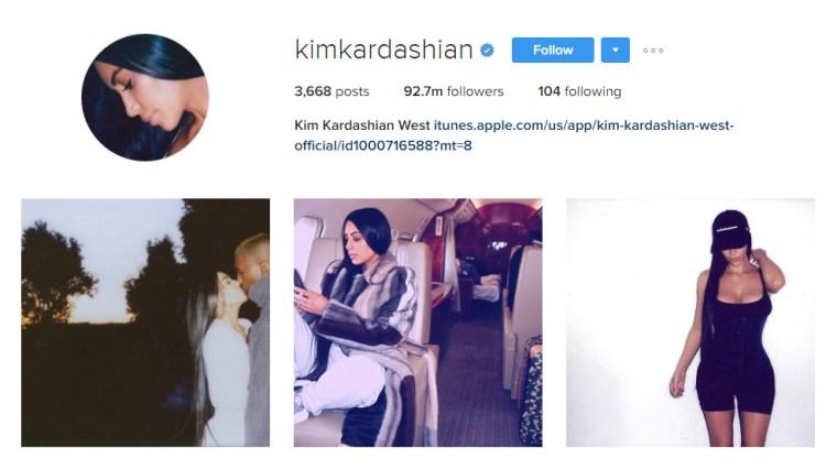 Screen cap of Kim Kardashian West's Instagram home page