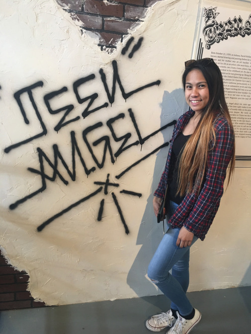 Bernadette Villena in the Teen Angel booth at the Los Angeles Art Book Fair 2017 at the Geffen Contemporary in Little Tokyo