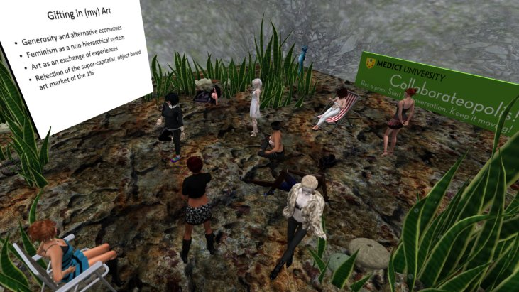 avatars gathered in a plaza and listening to a visiting artist talk