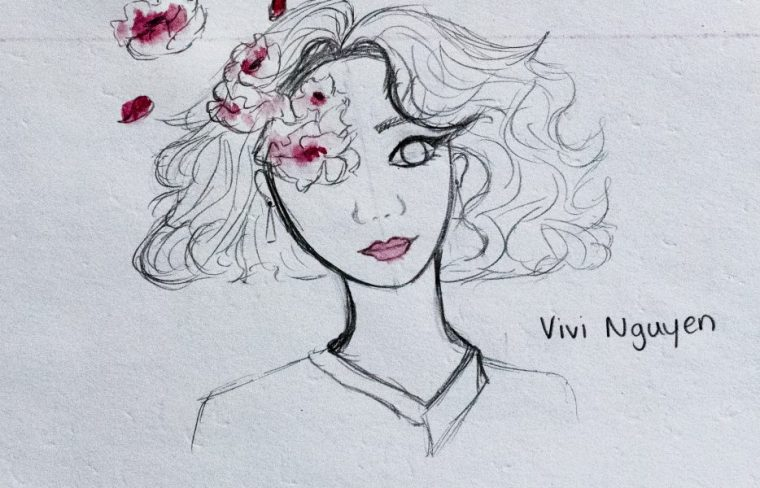 """""""ID Card"""" by Vivi Nguyen, featuring a drawing of young woman in black and white pencil, and with rose-colored flowers radiating from her"""