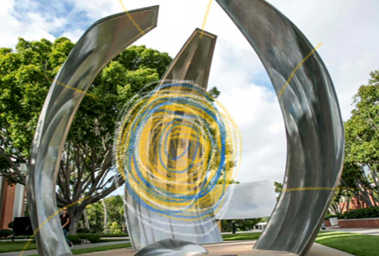 "Piotr Kowalski's ""Now"" sculpture as installed on the Long Beach State University campus"