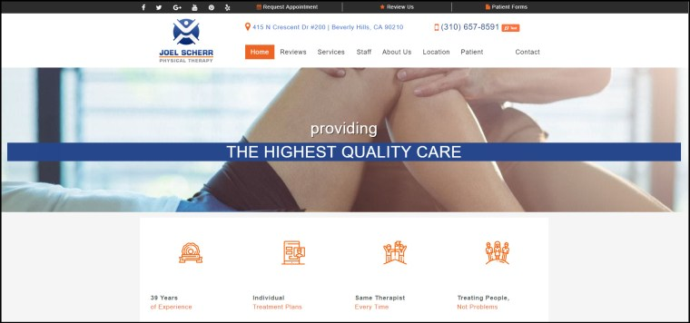 home page for a physical therapy website