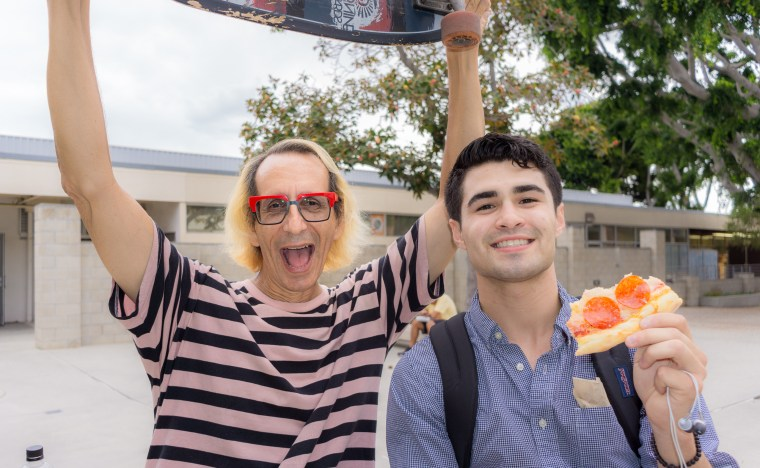 Glenn Zucman and Armando de la Mora in the School of Art, Art Gallery Courtyard at Long Beach State University
