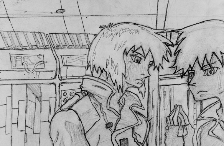 black-and-white pencil drawing of Art 110 sage Hiro