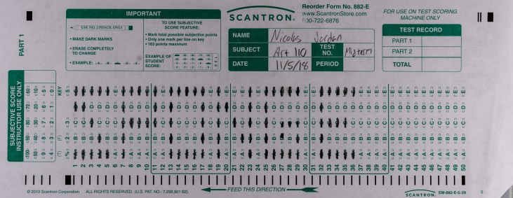 """The front of Nicolas Jordan's Scantron Midterm featuring the word """"Sponge"""" bubbled in on the Scantron Grid. Not pictured is the back of the form which features the word """"Bob"""" and a scantron-grid-bubbled Sponge Bob character drawing"""