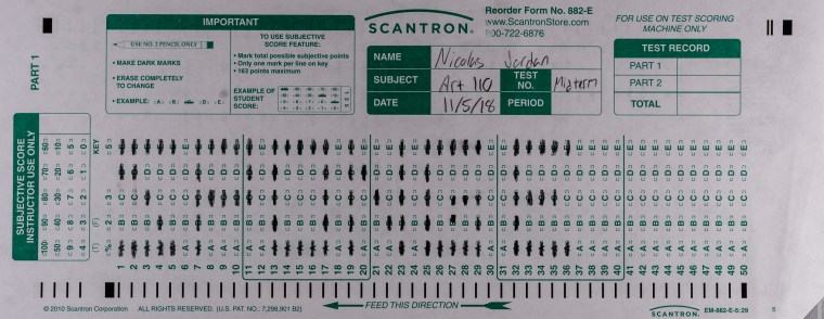 "The front of Nicolas Jordan's Scantron Midterm featuring the word ""Sponge"" bubbled in on the Scantron Grid. Not pictured is the back of the form which features the word ""Bob"" and a scantron-grid-bubbled Sponge Bob character drawing"